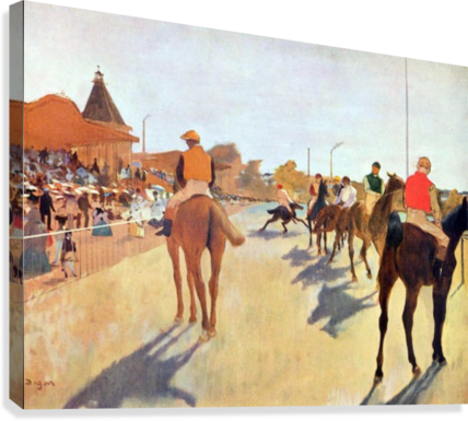 Jockeys in front of the grandstand by Degas  Canvas Print