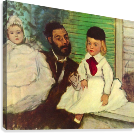 Portrait of Count Lepic and his daughters by Degas  Canvas Print