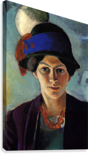 Portrait of the wife of the artist with a hat by Macke  Impression sur toile