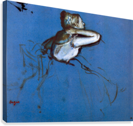Sitting dancer in profile with hand on her neck by Degas  Canvas Print