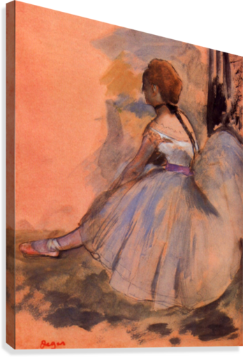 Sitting dancer with extended left leg by Degas  Canvas Print