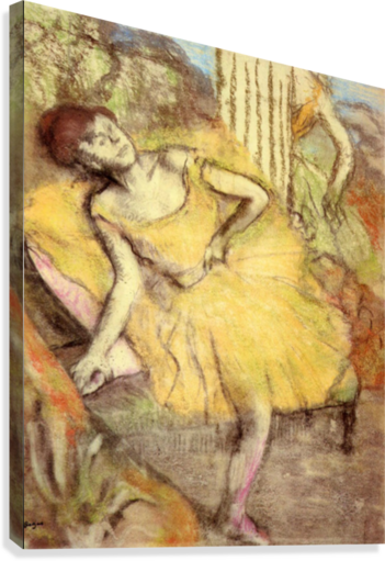 Sitting dancer with the right leg up by Degas  Canvas Print