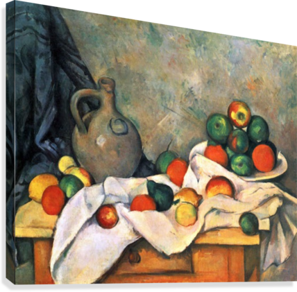 Still life, drapery, pitcher and fruit bowl by Cezanne  Canvas Print