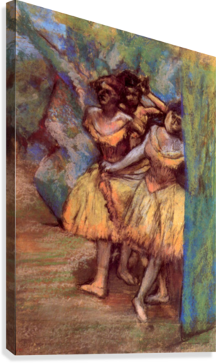 Three dancers behind the scenes by Degas