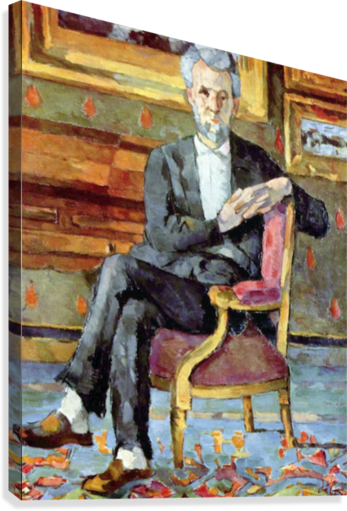 Victor Chocquet seated portrait by Cezanne  Canvas Print