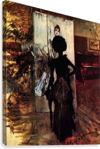 Woman in front of the painting White pastel picture by Giovanni Boldini  Canvas Print