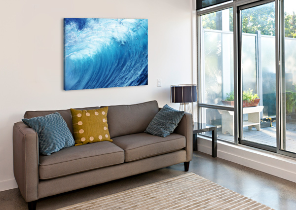 INSIDE GLASSY, BLUE WAVE CURLING OVER, CLOSEUP PACIFICSTOCK  Canvas Print