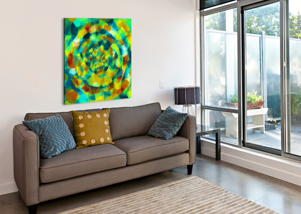PSYCHEDELIC GEOMETRIC POLYGON PATTERN ABSTRACT IN BLUE YELLOW GREEN BROWN TIMMYLA  Canvas Print