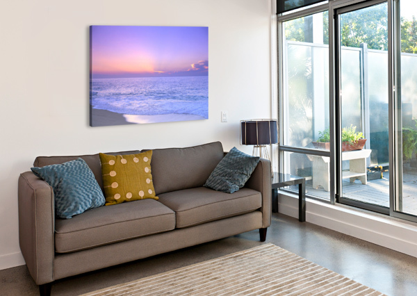 LAVENDER SKY WITH HUES OF PINK AND YELLOW, SHORELINE WATER TO OCEAN C1699 PACIFICSTOCK  Canvas Print