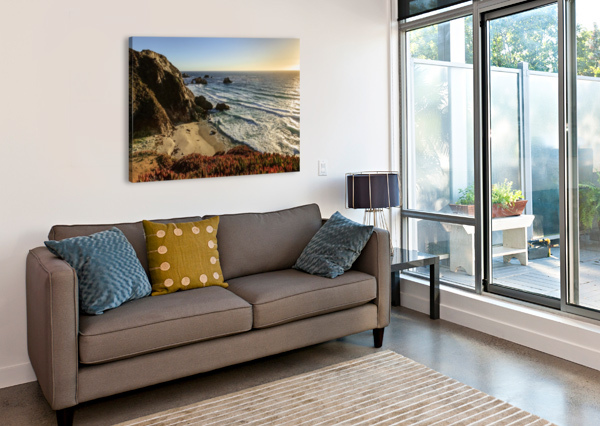CLIFFS ALONG BIG SUR COASTLINE NEAR ROCKY CREEK BRIDGE ON HIGHWAY ONE; CALIFORNIA, UNITED STATES OF AMERICA PACIFICSTOCK  Canvas Print