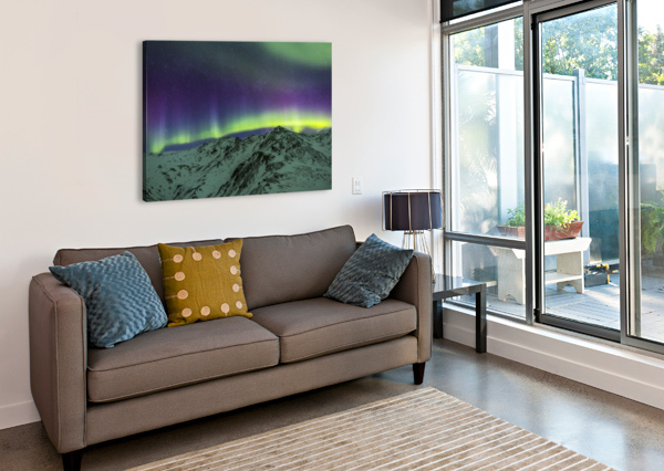 AURORA BOREALIS OVER MOUNTAINS WITHIN DENALI NATIONAL PARK ON A VERY COLD WINTER NIGHT.  THE ANDROMEDA GALAXY IS VISIBLE TO THE LEFT; ALASKA, UNITED STATES OF AMERICA PACIFICSTOCK  Canvas Print