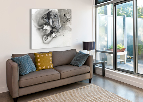 ILLUSTRATION OF A BIRD'S FACE SURROUNDED BY MOTTLED TEXTURES AND ABSTRACT PACIFICSTOCK  Canvas Print