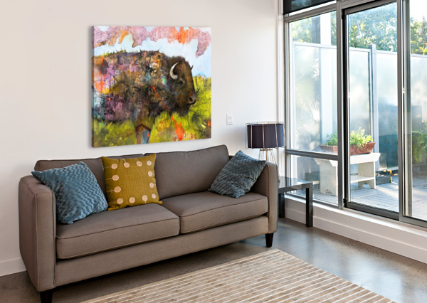 ILLUSTRATION OF A BUFFALO WITH COLOURFUL SPLASHES AND LANDSCAPE PACIFICSTOCK  Canvas Print
