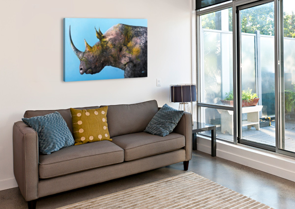 ILLUSTRATION OF A WHITE RHINOCEROS AGAINST A BLUE BACKGROUND PACIFICSTOCK  Canvas Print