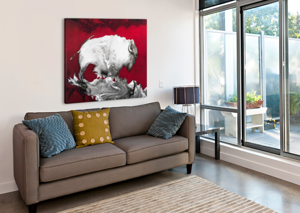 ILLUSTRATION OF A BISON AGAINST A RED BACKGROUND PACIFICSTOCK  Canvas Print