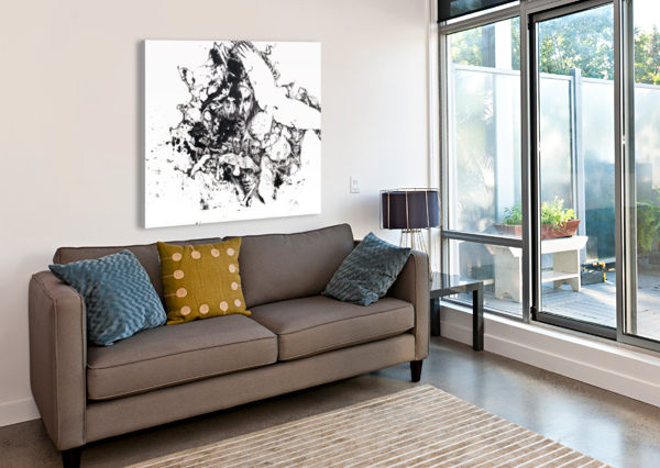 BLACK AND WHITE ILLUSTRATION OF BIRDS AND HUMAN FACES PACIFICSTOCK  Canvas Print