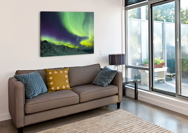 AURORA BOREALIS SWIRLS OVER MOUNTAINS WITHIN DENALI NATIONAL PARK ON A VERY COLD WINTER NIGHT; ALASKA, UNITED STATES OF AMERICA PACIFICSTOCK  Canvas Print
