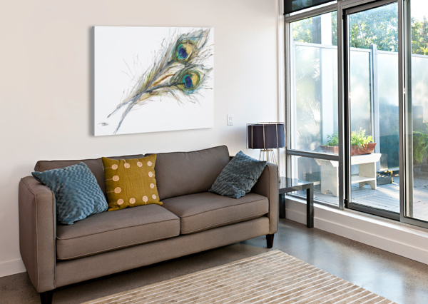 WATERCOLOR PAINTING OF TWO PEACOCK FEATHERS. PACIFICSTOCK  Canvas Print