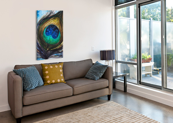 ARTWORK SHOWING THE DETAIL OF A COLOURFUL BIRD FEATHER PACIFICSTOCK  Canvas Print