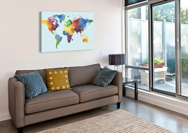 BRIGHT WATERCOLOR MAP OF THE WORLD IRINA SZTUKOWSKI  Canvas Print