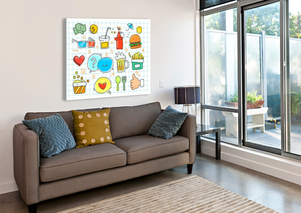 COLORFUL DOODLE STOCK PHOTOGRAPHY  Canvas Print