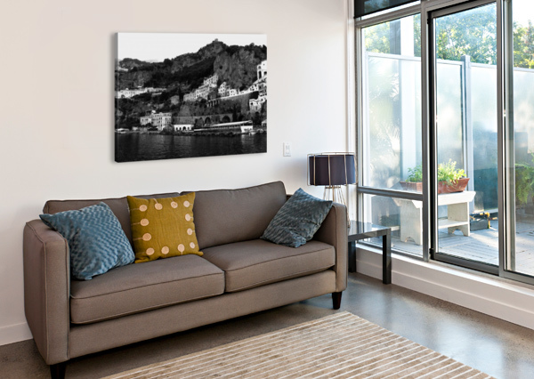 AMALFI COAST BLACK AND WHITE LANDSCAPE BENTIVOGLIO PHOTOGRAPHY  Canvas Print