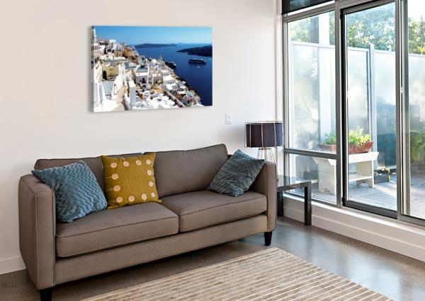 SUPER PANORAMIC VIEW - SANTORINI - GREECE BENTIVOGLIO PHOTOGRAPHY  Canvas Print