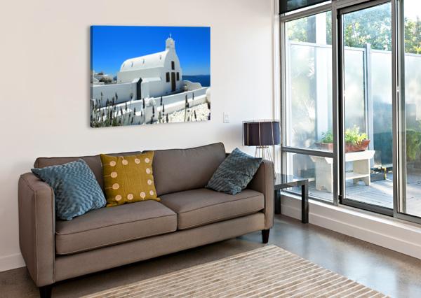 SMALL WHITE CHURCH IN SANTORINI - GREECE BENTIVOGLIO PHOTOGRAPHY  Canvas Print