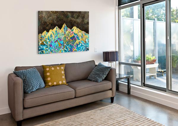 GOLD TURQUOISE MOUNTAIN - ILLUSTRATION I ART DESIGN WORKS  Canvas Print