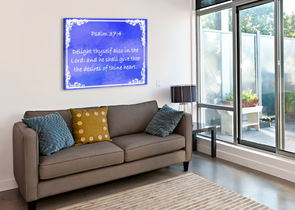 PSALM 37 4 8BL SCRIPTURE ON THE WALLS  Canvas Print