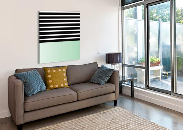BLACK & WHITE STRIPES WITH GREEN PATCH RIZU_DESIGNS  Canvas Print