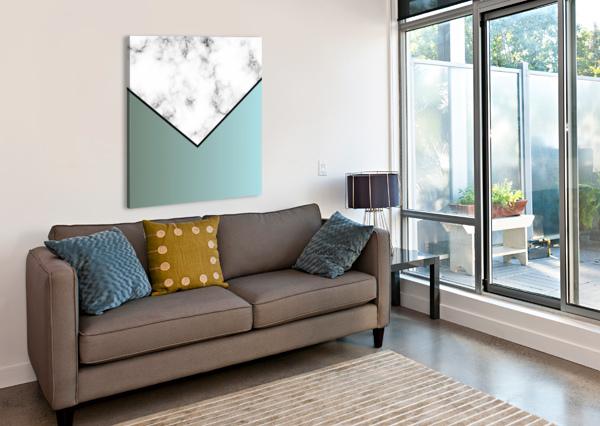 ABSTRACT GRAYISH BLUE MODERN MARBLE RIZU_DESIGNS  Canvas Print