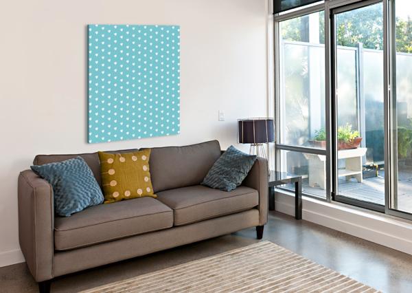 CADET BLUE HEART SHAPE PATTERN RIZU_DESIGNS  Canvas Print