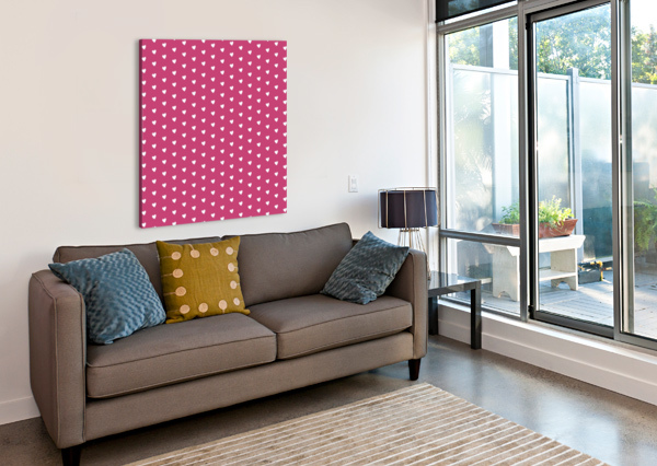 FUCHSIA ROSE HEART SHAPE PATTERN RIZU_DESIGNS  Canvas Print