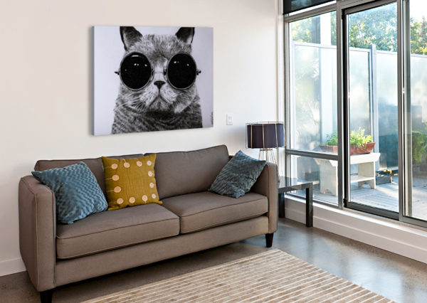 THE CAT WITH GLASSES TPENCILARTIST  Canvas Print