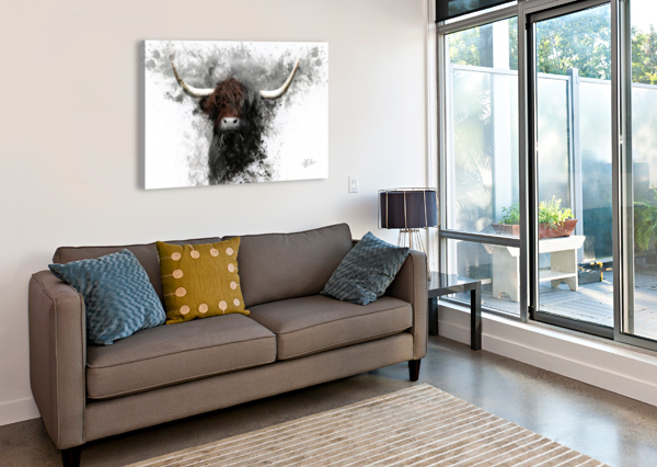 HIGHLAND COW IN INK RONNIE B GOODWIN  Impression sur toile