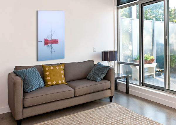 NEW BRUNSWICK - FISHING BOAT REFLECTED IN WATER ALEXANDRA DRAGHICI  Canvas Print