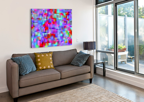 GEOMETRIC SQUARE PIXEL PATTERN ABSTRACT BACKGROUND IN BLUE PURPLE PINK RED TIMMYLA  Canvas Print