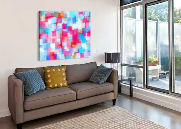 GEOMETRIC SQUARE PATTERN ABSTRACT BACKGROUND IN PINK AND BLUE TIMMYLA  Canvas Print