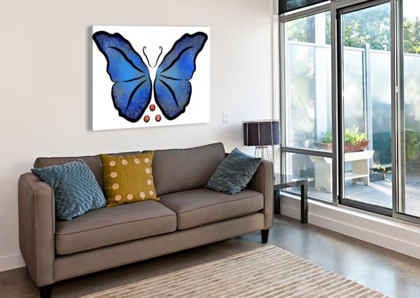 DEONIORO - DEEP BLUE NIGHT BUTTERFLY WITH PEARLS CERSATTI ART  Canvas Print