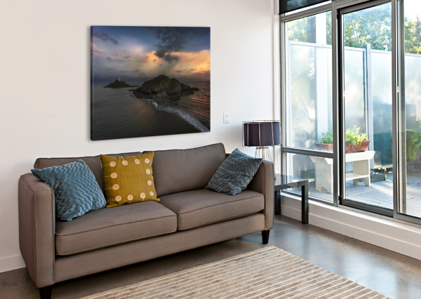 DUSK AT MUMBLES LIGHTHOUSE LEIGHTON COLLINS  Canvas Print