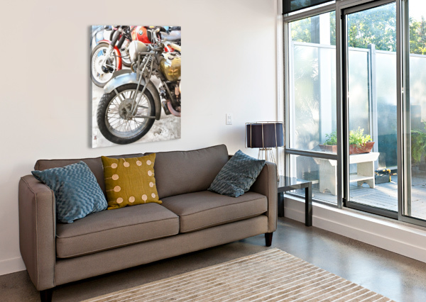 MOTO GUZZI AND BMW FRONT WHEELS DOROTHY BERRY-LOUND  Canvas Print