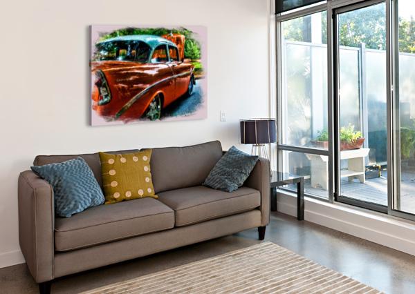 CLASSIC ORANGE CAR IN PARK PAINTING DARRYL BROOKS  Canvas Print