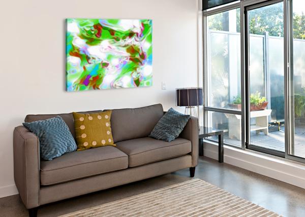 GREEN GLASS WINDOW - MULTICOLOR GREEN ABSTRACT SWIRL WALL ART JAYCRAVE DESIGNS  Canvas Print