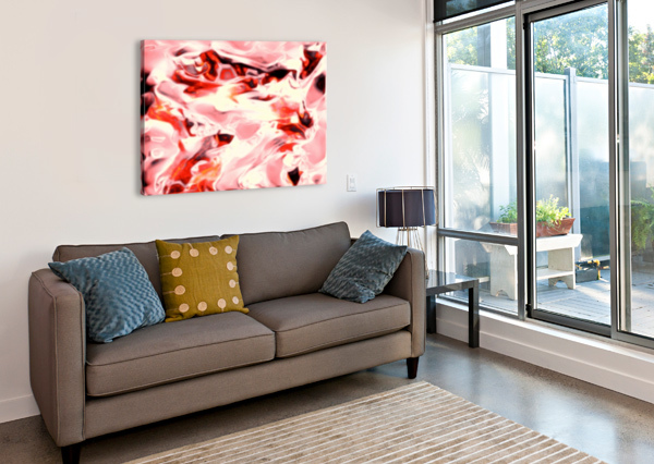 SUPER CHARGED - RED ORANGE PINK ABSTRACT SWIRLS WALL ART JAYCRAVE DESIGNS  Canvas Print