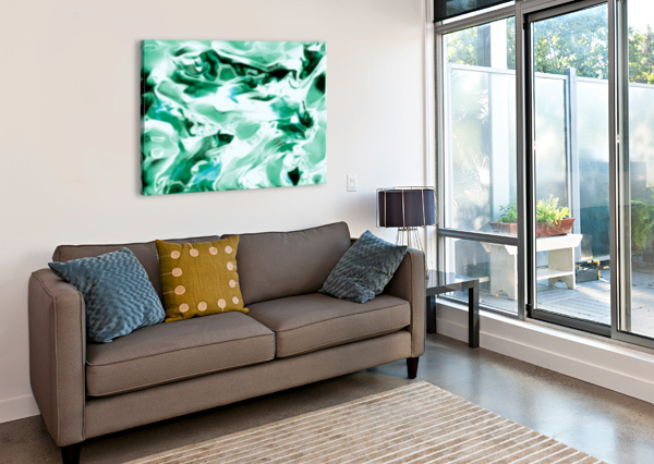 ICICLES - TURQUOISE WHITE ABSTRACT SWIRLS WALL ART JAYCRAVE DESIGNS  Canvas Print