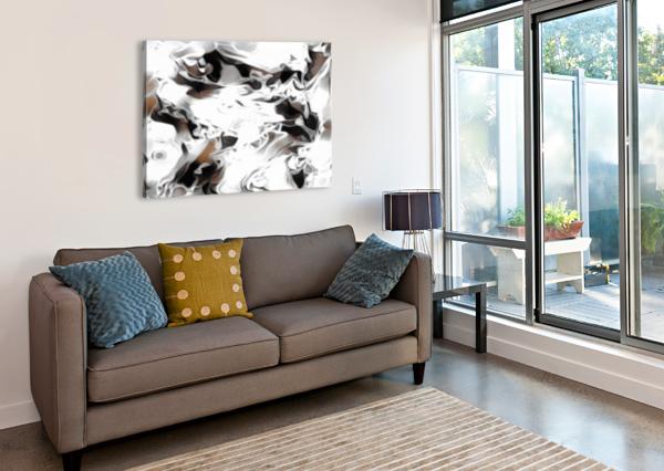BROWN SUGAR & COFFEE - BROWN GREY WHITE BLACK SWIRLS LARGE ABSTRACT WALL ART JAYCRAVE DESIGNS  Canvas Print