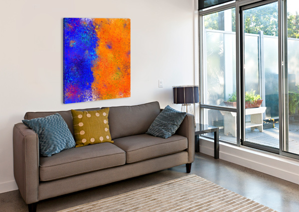 SEISNAHORRA - ORANGE AND BLUE BALANCED FREEDOM CERSATTI ART  Canvas Print
