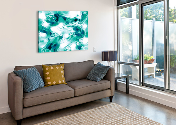 MINT CHOCOLATE CHIP ICE CREAM - TURQUOISE WHITE BLUE BLACK SWIRLS LARGE ABSTRACT WALL ART JAYCRAVE DESIGNS  Canvas Print