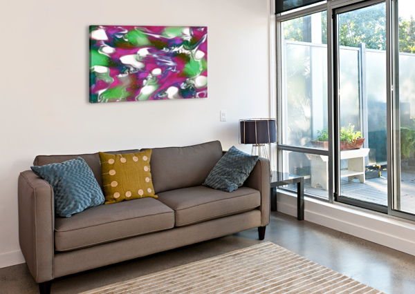 PLUMS & LIME WITH MINT LEAVES - PURPLE GREEN WHITE SWIRLS AND SPOTS LARGE ABSTRACT WALL ART JAYCRAVE DESIGNS  Canvas Print